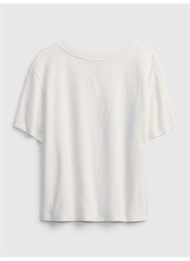 Gap Organik Pamuklu Grafik Desenli T-Shirt Beyaz